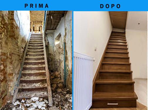 I nostri lavori: esempio di rifacimento scala prima e dopo.
